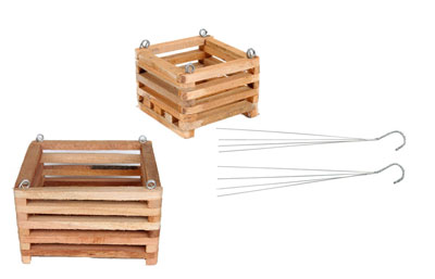 6 and 8 in wooden basket, with hangers