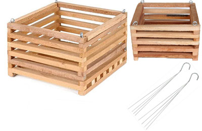 8 and 10 in wooden baskest, with hangers
